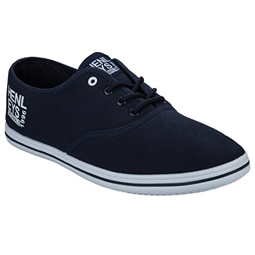 Henleys Chaussures Plates Toile, Baskets, Chaussures, Tennis Bleu - Navy-White