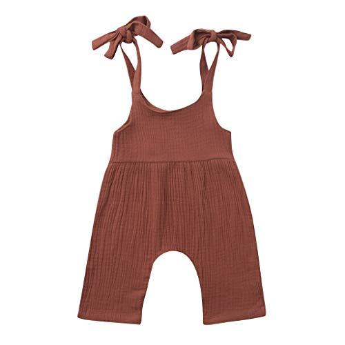 JUTOO Sommer Kleinkind Neugeborenen Kinder Baby Jungen Mädchen Einfarbig Spielanzug Overall Kleidung (Kaffee 2,80)