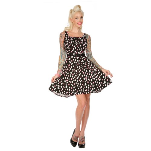 Voodoo Vixen Kleid DOTS DRA2101 black-pink-white XL