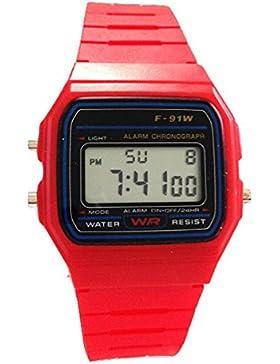 3,8cm Rot Unisex-Armbanduhr Digital Damenuhr/Herrenuhr Retro Design Klassisch Uhr - Verfügt über Luxuriöse Geschenktüte...