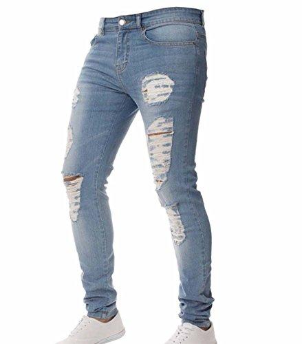 Männer Hosen, Herren Stretchy Zerrissene Dünne Biker Jeans Zerstört Taped Slim Fit Jeans (Hellblau & Dunkelblau) (Rabatt Designer-jeans)
