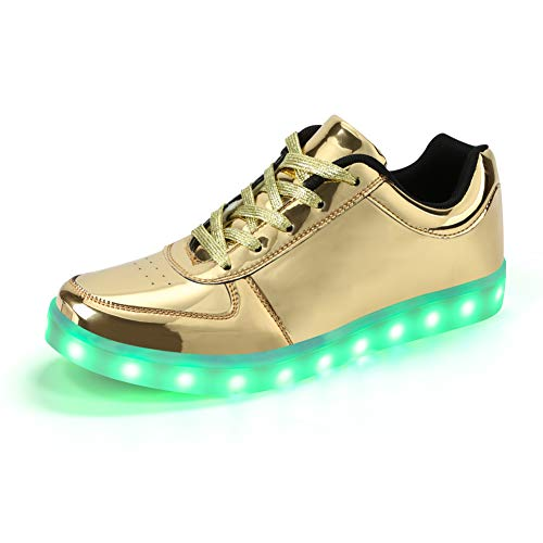 Padgene® Mujeres Hombres Zapatillas de Luces LED UP de Alta Top Intermitente Instructores Carga USB Parejas Zapatos con Cordones