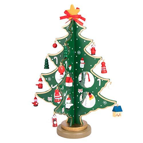 Vidillo Albero di Natale in Legno Fai da Te Natale Ornamento Tavolo scrivania Decorazione di Natale in Miniatura di Natale/Decorazione di Natale per i Bambini Regalo, Decorazioni per la casa (Verde)