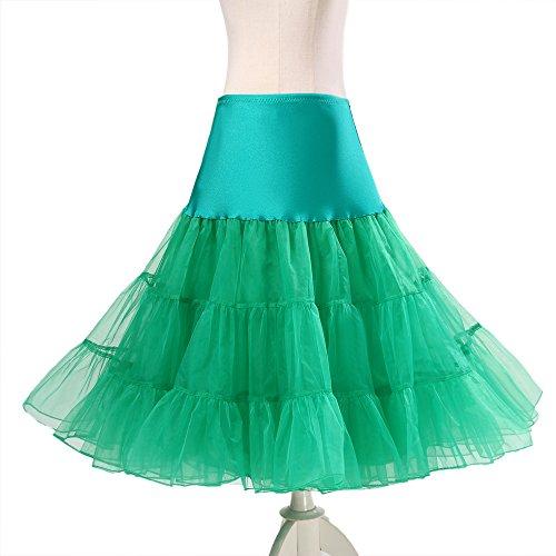 BOOLAVARD® 50er Jahre Petticoat Vintage Retro Reifrock Petticoat Unterrock für Wedding bridal Petticoat Rockabilly Kleid in mehreren Farben Grün
