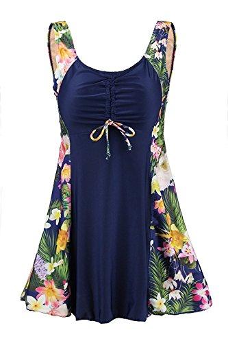 Ecupper Damen Einteiler Badeanzug Gepolstert Bauchweg Badekleid mit Shorts Blumen Muster Plus Size Navy-Blumen DE 48