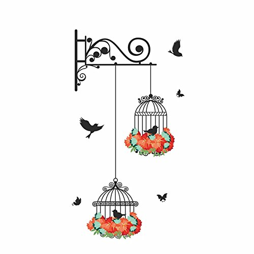 Happy Walls Colorful Flower Covered Hanging cage with Flying Black Birds Wall Sticker/Decals(70257)