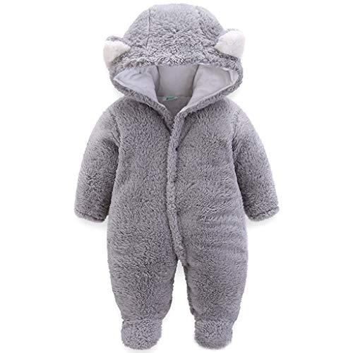 JiAmy Baby Winter Overall Mit Kapuze Fleece Schneeanzüge Mädchen Jungen Warm Strampler Outfits Grau 0-3 Monate