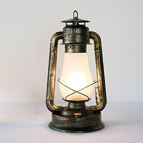 JIAHONG Retro aldea nostálgica industrial antigua lámpara de tabla de hierro de la vendimia, decoración de la barra de café lámpara de mesa bombilla LED-E27 (interruptor de botón)