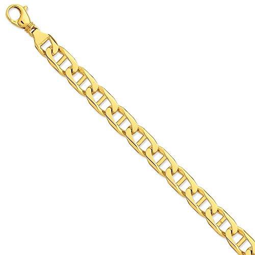Or 14carats 11mm Poli à la main Anchor Link Bracelet Chaîne-Fermoir-Longueur Options: 20-23