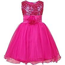 JerrisApparel niña lentejuela flor princesa vestido de fiesta de cumpleaños de la boda