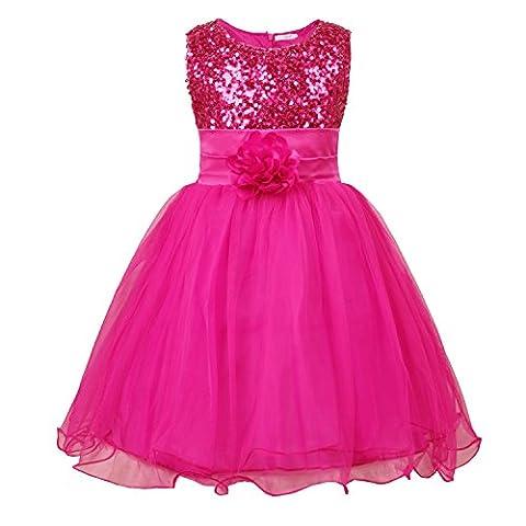 JerrisApparel Petite Fille Paillette Fête Fleur Robe de Cérémonie Bal Banquet Tulle (5 Ans, Rose Vif)