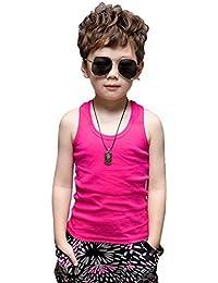 5e7454d33322c YiyiLai Débardeur Eté Enfant Fille Garçon Coton T-Shirt sans Manche Hauts  Top ...