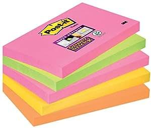 Post-it 655S-N Haftnotiz Super Sticky Notes 76 x 127 mm, 90 Blatt, 5 Stück, neonpink, grün, orange, ultragelb