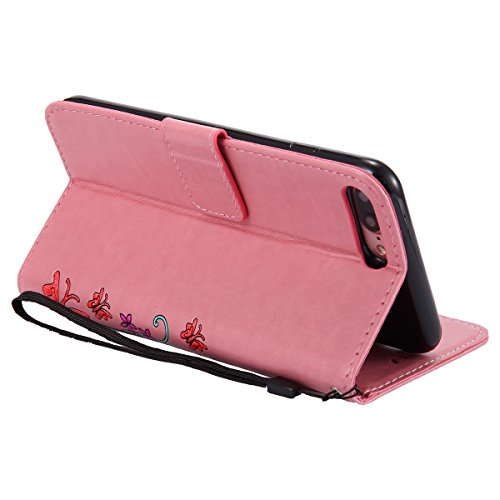 EUWLY Case Cover per iPhone 7 Plus/iPhone 8 Plus (5.5) Custodia Portafoglio PU Pelle Farfalle e Fiori Colore Solido PU Leather Wallet Cover Lanyard Protective Portafoglio Case Cover Internamente Sili Rosa