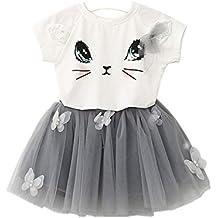 Culater® Bambini Ragazze modello Cat shirt Top farfalla Tutu Skirt Set abbigliamento