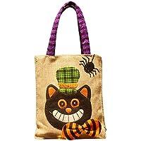 Preisvergleich für Aolvo Halloween-Süßigkeiten-Tasche, Kürbis-Tragetasche, für Damen, Übergröße, lässige Schultertaschen für Kinder, Cartoon-Design, Baumwolle, Leinen, 3D-Kürbis-Handtaschen, 1 Stück Schwarze Katze