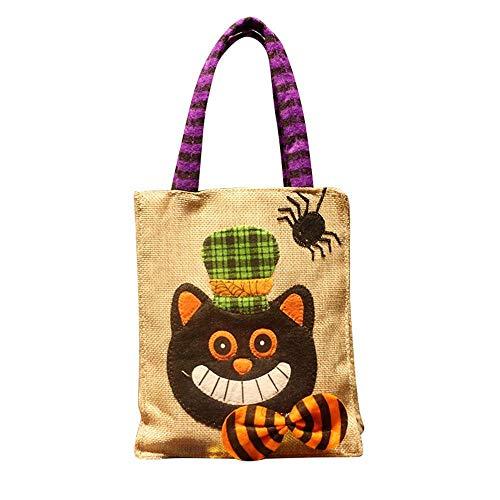 AOLVO Halloween Sacchetti di Caramelle Zucca di Halloween Lino Borsa per Donne Taglia Casual Borse a Tracolla per Bambini Fumetto Biancheria di Cotone 3D Pumpkin Handbags 1PC Black Cat