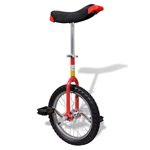 vidaXL Monociclo rojo ajustable, 16 pulgadas