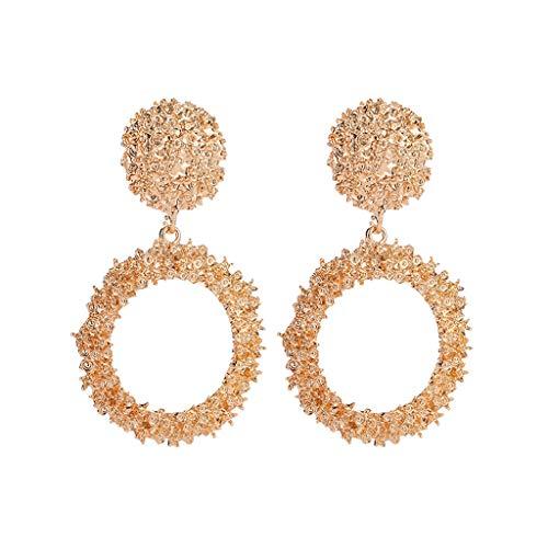 SMILEQ® Elegante Charm Boho Anweisung Große Geometrische Runde Tropfen Baumeln Ohrstecker (1 Pair, Gold)