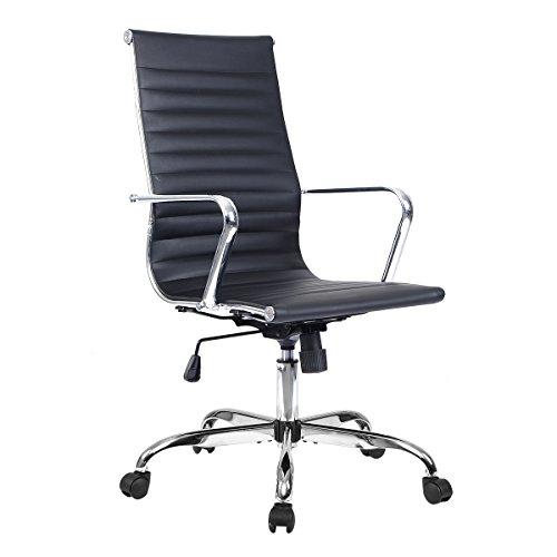Bürostuhl Bürodrehstuhl Schreibtischstuhl Chefsessel PU Stuhl Arbeitshocker Drehstuhl ergonomisch Chefstuhl 2 Farben (Schwarz)