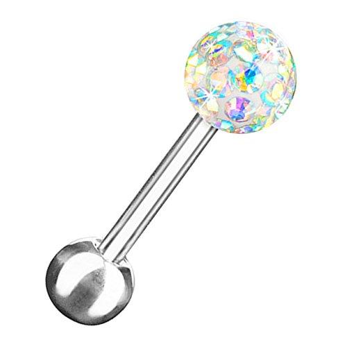 Helix Recht Piercing (Piersando Tragus Piercing Helix Ohr Cartilage Knorpel Stab Stecker 316 L Chirurgenstahl mit Ferido Kristall Kugel Silber 6mm x 4mm Rainbow)