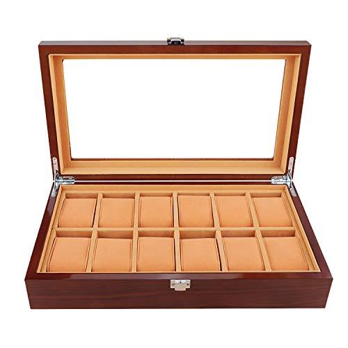 JinDiLong Uhrenbox Holz Uhrengehäuse Schmuck Box 12 Slot Holz Geschenkbox Schmuck Display Aufbewahrungsboxen mit Glasplatte und abnehmbaren Speicher Kissen-Brown