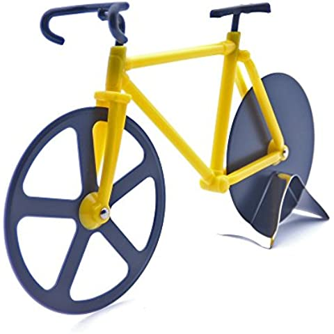 Pazzi Bicicleta Cortapizzas Bici Rueda Cortador de Pizza Cuchillo de Acero Inoxidable Amarillo