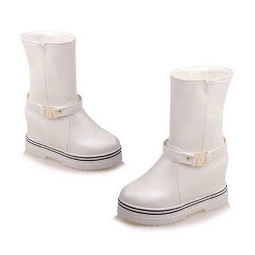 AllhqFashion Damen Rund Zehe Hoher Absatz Weiches Material Niedrig Spitze Rein Stiefel Weiß