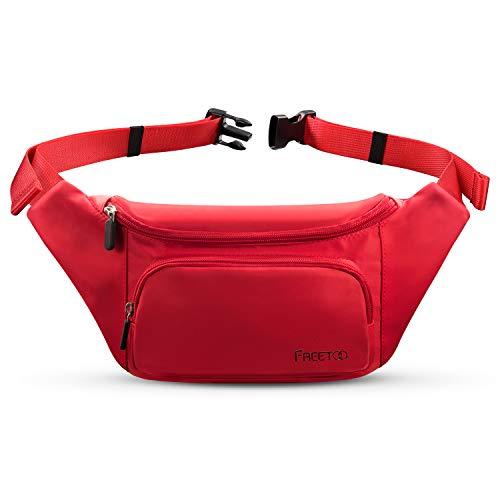 FREETOO Damen Bauchtasche wasserdicht Multi-Pocket Tasche Multifunktionale Gürteltasche Ideal für Freizeit Wandern Reise Outdoor Aktivitäten (Rot)