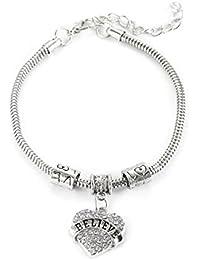 698c37d9eea4 Funnyrunstore Forma de Corazón Mujeres Serpiente Cadena Creer Palabras Pulsera  Colgante de Diamantes de Imitación Brazalete Cuentas…