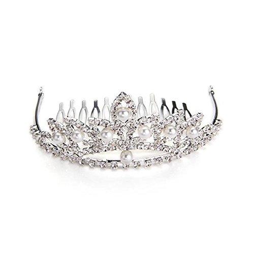 Skyllc® Banquete de boda de plata plateado cristal de la perla de la corona de baile Señora peine del pelo del Pin