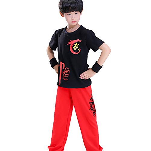 FHKL Kampfsport Bekleidung Kind Trainingsbekleidung Sets Schüler Jungen Chinesisch Traditionell Tai Chi Uniformen Kung Fu Mädchen Anzüge Performance Kostüme,Blacktop+RedPants-170