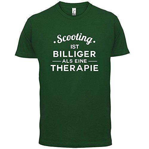 Scooting ist billiger als eine Therapie - Herren T-Shirt - 13 Farben Flaschengrün
