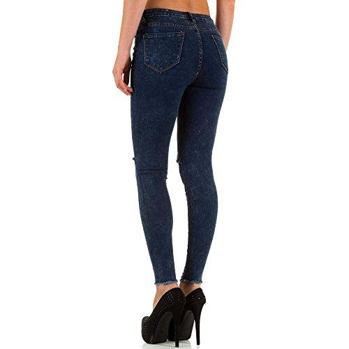 Destroyed High Waist Skinny Jeans Für Damen bei Ital-Design Blau