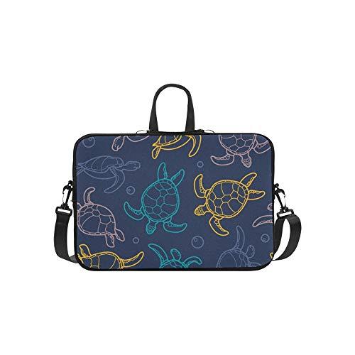 Cheloniidae Turtles Linear Graphics Aktentasche Laptoptasche Messenger Schulter Arbeitstasche Crossbody Handtasche Für Geschäftsreisen (Linear-laptop-schulter-tasche)