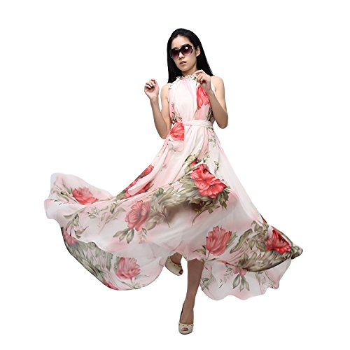 Romacci Women Chiffon Long Maxi Dress Floral Print Sleeveless Halter Neck Boho Cocktail Evening Party Dress Red