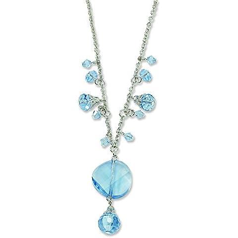 Silver-tone luce blu cristallo goccia 16inch con Ext Collana
