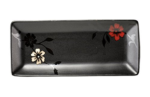 Koala Superstore Hermosa Placa de Sushi Platos de Postre cerámica Tres Colores Cherry Blossoms Negro
