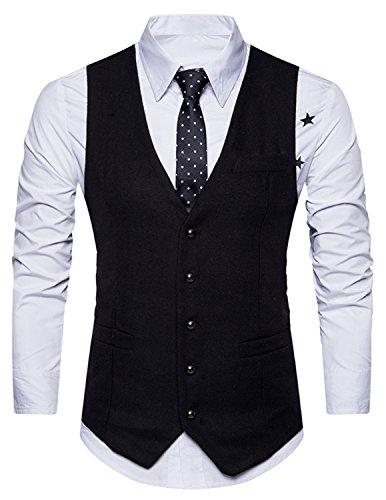 Boom Fashion Gilet de Costume pour Homme Casual Mariage Business Veste sans Manche Blazer,Noir,XX-Large