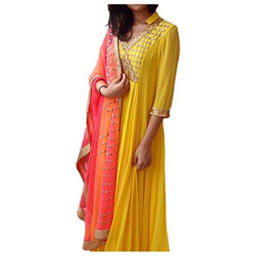 Ethnic Empire Yellow Mirror Work Salwar SuitCOLOR LATEST INDIAN DESIGNER ANARKALI SALWAR...