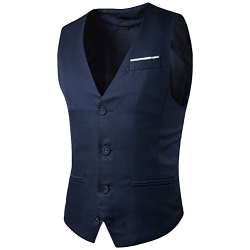 Zhhlaixing Atmungsaktiv Men's Business Formal Casual Sleeveless Slim Fit Suit Vest Jacket Dark Blue