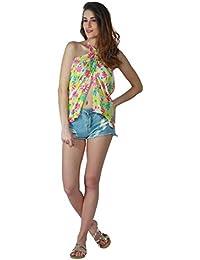 Emazing Deals Women's Cotton Beautiful Cover Up Beach Wear Wrap Swimsuit (emzpareoprntyelwpnk, Multicolour, Free Size)