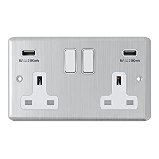 Satin Chrome Classical 2 Gang Socket w/ USB Charging Ports White Insert Plastic Rocker Switches - Alliance Electrical 13 Amp Double Plug Socket & Dual USB Power Outlet