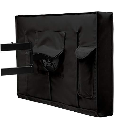 WaackGG TV Outdoor Cover, Schwarz Wasserdichtes PVC Oxford Tuch, Nicht Verkratzbar, Universelle Innenausstattung mit Dichtungsschutz für die Untere Abdeckung - 40-42 Zoll