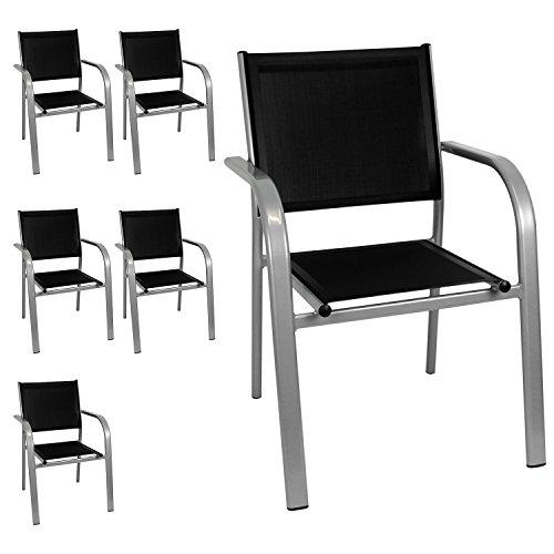 6x Stapelsessel Stapelstuhl Gartensessel Gartenstuhl Bistrostuhl - Aluminiumgestell, 2x1 Textilenbespannung, stapelbar, Grau/Schwarz - Gartenmöbel Terrassenmöbel Balkonmöbel Bistromöbel