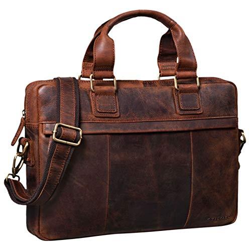 STILORD \'Andrew\' Vintage Business Ledertasche Klassische Aktentasche für Herren und Damen 13,3 Zoll Laptoptasche für Arbeit Büro Aufsteckbar, Farbe:Zamora - braun