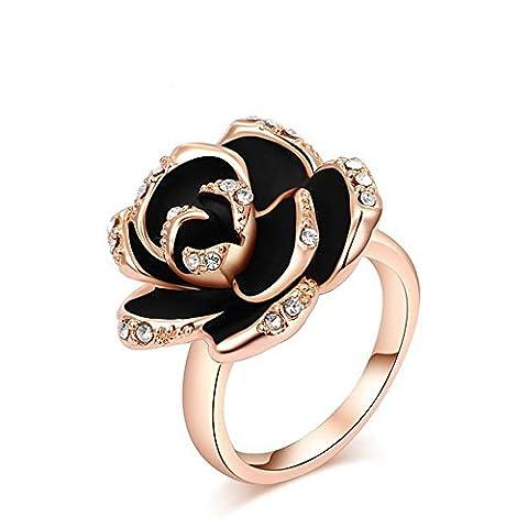 Swallowuk Weibliche Schmuck Ring österreichischen Kristall Diamant schwarz Rose Ring (6) (Frauen Österreichischen Kristall-ring)