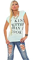10461 Fashion4Young Damen Kurzarm Damen T-Shirt mit Motiv Tank Top Shirt Tunika 5 Farben 2 Größen