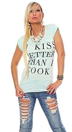 10461 Fashion4Young Damen Kurzarm Damen T-Shirt mit Motiv Tank Top Shirt Tunika 5 Farben 2 Größen (S/M 34/36, Mint)