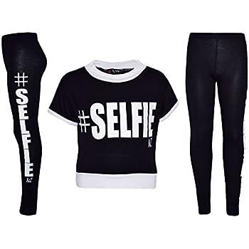 bde7860d1f46 Girls Top Kids #Selfie Print Designer T Shirt Top & Fashion Legging Set Age  7 8 9 10 11 12 13 Years